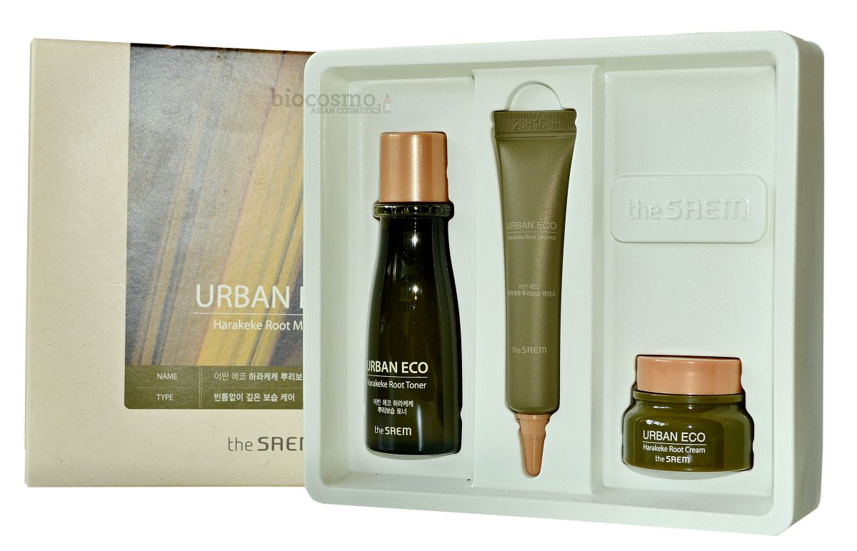 Набор миниатюр для лица с новозеландским льном THE SAEM Urban Eco Harakeke Root Mini Set - 31мл+10мл+8мл